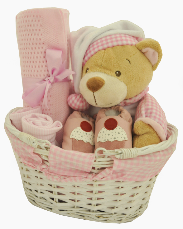Baby Gift Baskets For Girl : Adorable gingham baby girl gift basket at ?