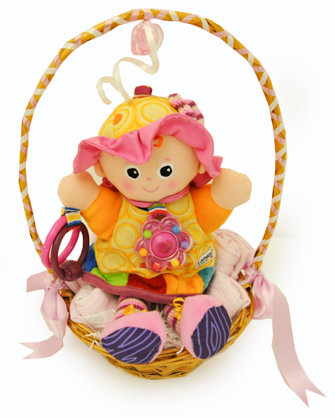 Gift Wrapped Baby Gifts Uk : Posy wrapped clothing and friend baby girl gift basket at