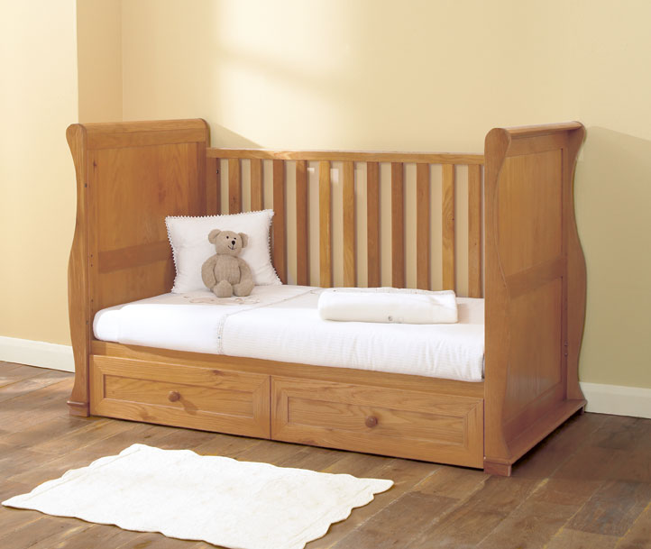 East Coast Langham Sleigh Oak Cot Bed With Draws At 163 399 99