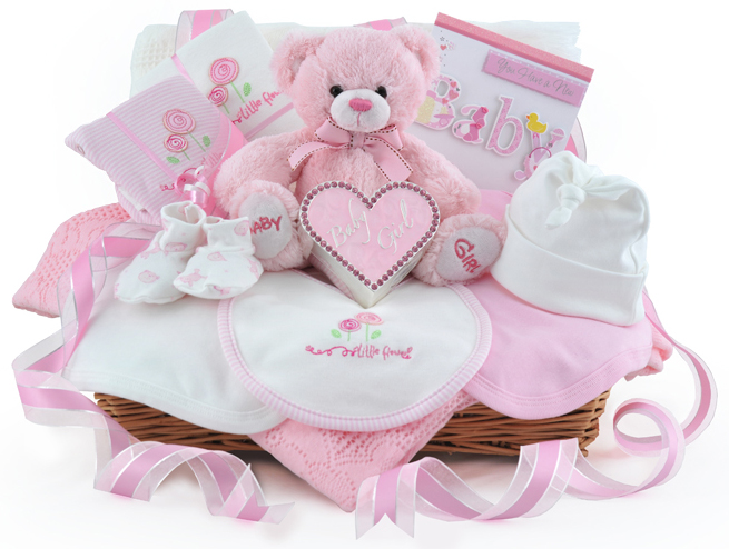 Baby Gift Ideas Uk : Diamante keepsake baby girl gift basket at ?