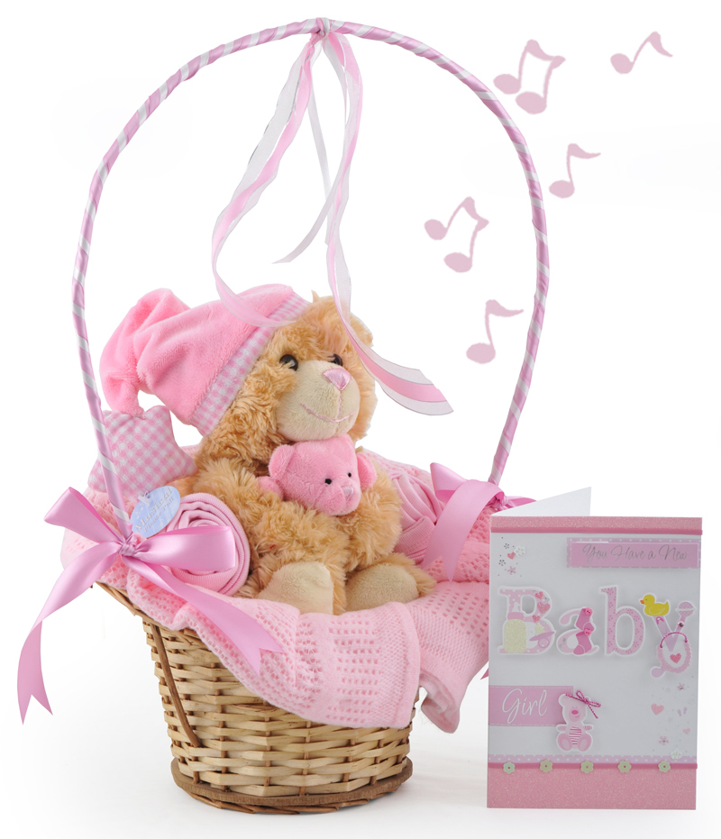 Baby Gift Baskets For Girl : Musical cuddles baby girl gift basket at ?
