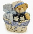 Adorable Gingham Baby Boy Gift Basket
