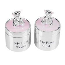 Bambino Silverplated First Tooth & Curl Set Pink