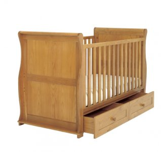 East Coast Langham Sleigh Oak Cot Bed with Draws