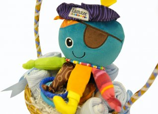 Posy Wrapped Clothing and Friend Baby Boy Gift Basket