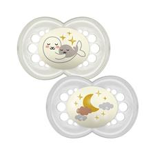 MAM Night Latex Soother 6m+ 2Pk