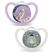 NUK Space Night Soother Pink 6-18m 2Pk
