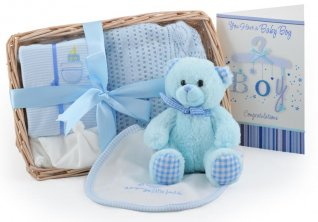 Bear and Bundle Baby Boy Gift Basket