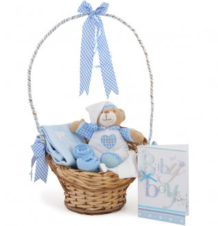 Baby Boys Gingham Goodnight Basket