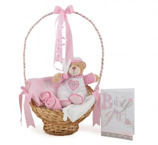 Baby Girls Gingham Goodnight Basket