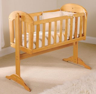 East Coast Canterbury Swinging Crib Natural + Mattress & Drape Rod