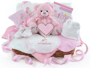 Diamante Keepsake Baby Girl Gift Basket