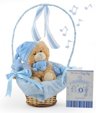 Musical Bedtime Cuddles Baby Boy Gift Basket
