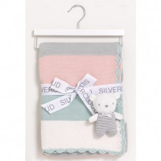 Silvercloud Made With Love Blanket & Baby Bear Gift Set - Pink