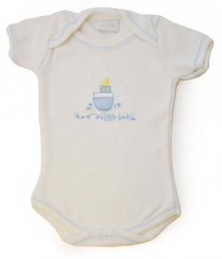 Tiny Me Envelope Neck White Bodysuit Boats